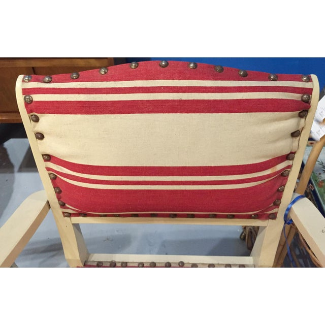 Pair, 1930's French ArmChairs, Red Stripes - Image 8 of 10