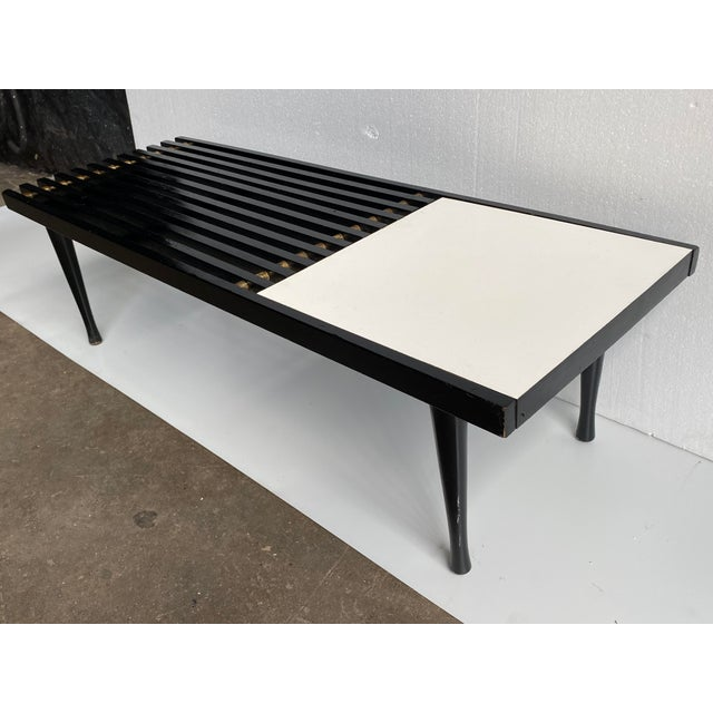 1960s 1960s Mid-Century Modern Black White Slat Bench Table For Sale - Image 5 of 10