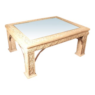 Carved Faux Stone Coffee Table With Center Glass Inlay