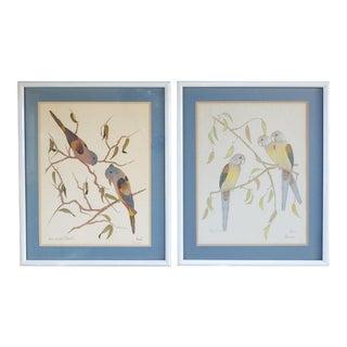 Parrots by Pat Moran Mid Century Prints - a Pair For Sale