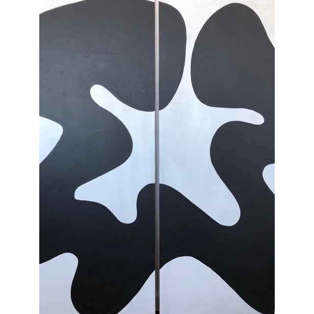 Abstract The Big Swim X Hannah Polskin Black and White Abstract Diptych For Sale - Image 3 of 9