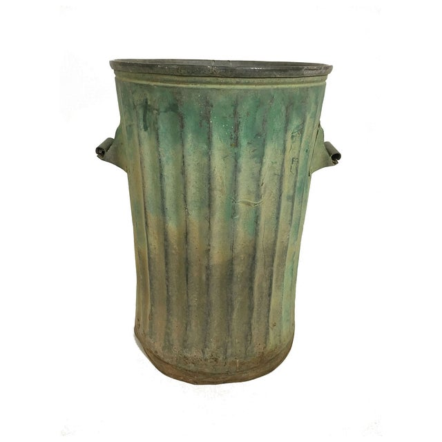 Green Trash Can With Patina For Sale