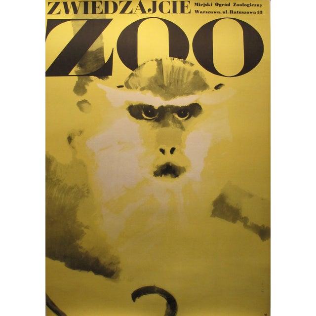1967 Original Polish Zoo Poster, Monkey - Swierzy For Sale