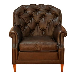 Vintage Tufted Brown Leather Club Chair For Sale