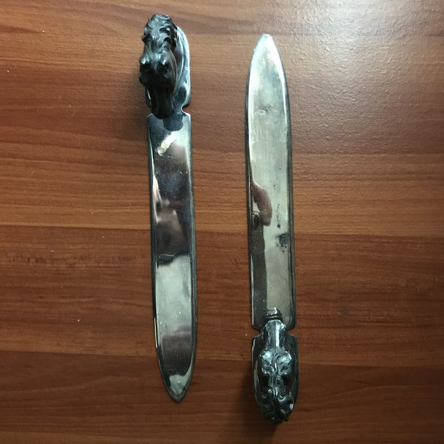 Excellent set Reed & Barton silverplate letter openers / paperweights. Vintage patina and wear.