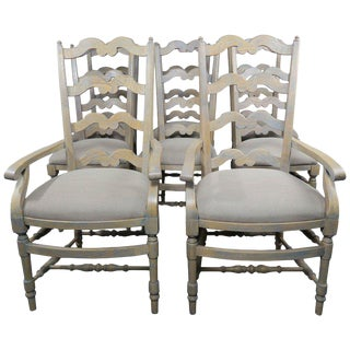 French Country Ladder Back Painted Dining Chairs, Set of 8 For Sale
