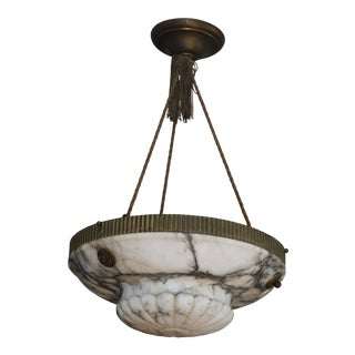 1930s Art Deco Carved Polished Alabaster and Bronze & Brass Chandelier With Canopy For Sale