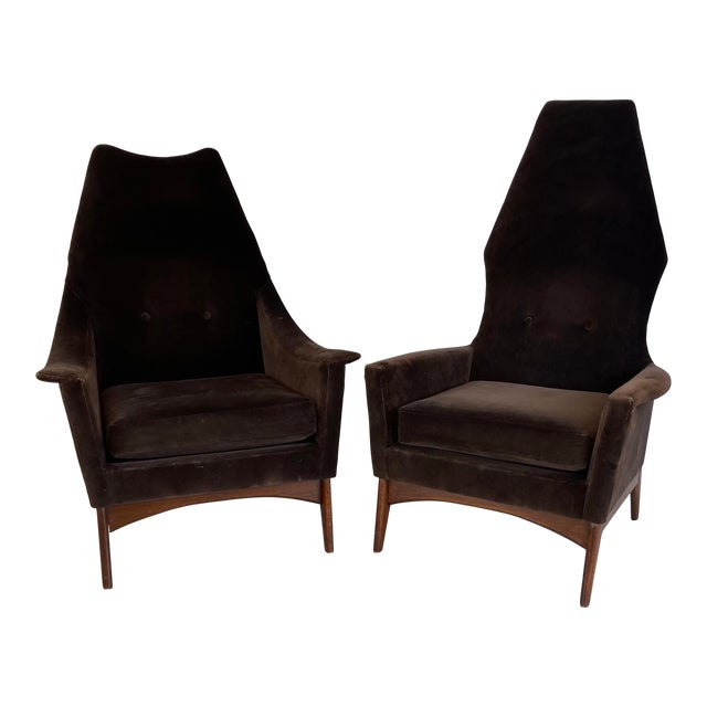 1960s Adrian Pearsall Attributed High-Back Lounge Chairs - 2 Pieces For Sale