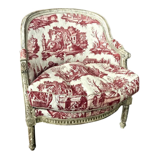 Louis XVI 18th c. French Painted Bergere in Early 19th Century Toile For Sale