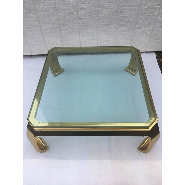 Brown 1970's Asian Inspired Brass & Glass Coffee Table by Mastercraft For Sale - Image 8 of 12