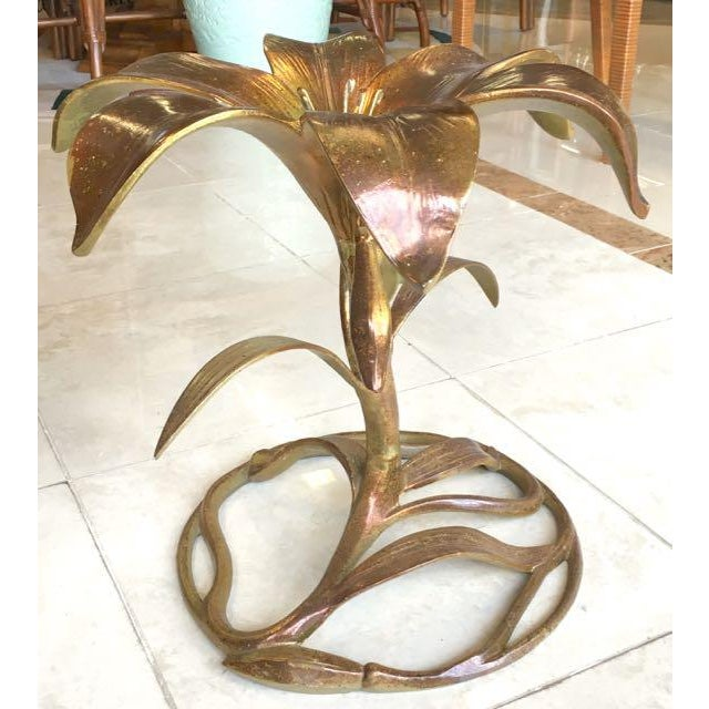 Art Nouveau 20th Century Hollywood Regency Arthur Court Lily Side Table For Sale - Image 3 of 12