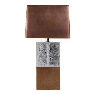 Double C Table Lamp - Crystal and Copper by Robert Kuo, Hand Repousse, Limited Edition For Sale