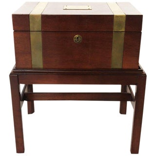 Antique Brass Inlay Campaign Style Box on Stand For Sale