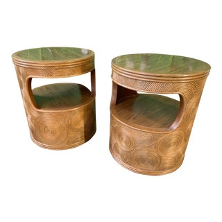 Split Pencil Reed Rattan End Tables in the Manner of Gabriella Crespi For Sale