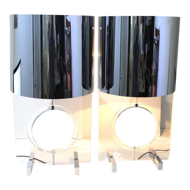 Vintage Karl Springer Attributed Table Lamps Rotating Discs Lucite Chrome - a Pair For Sale