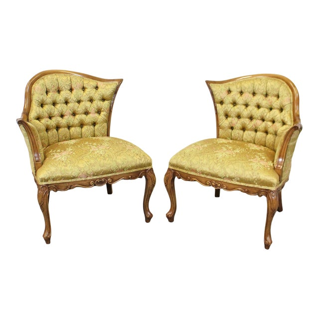 Pair of Vintage French Tufted Fireside Ladies Parlor Arm Chairs For Sale