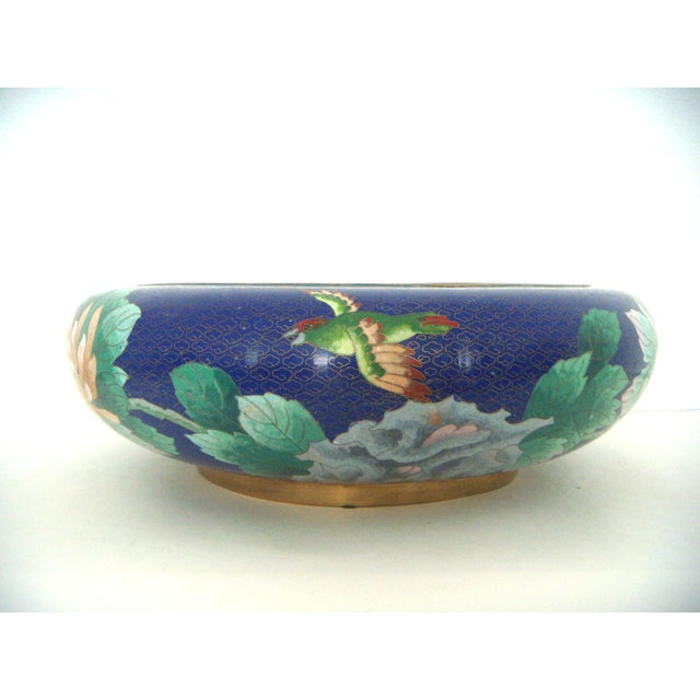 Large Blue Cloisonné 'Flower Bowl' and Stand - Image 7 of 11