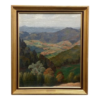R. Flandin - 1930s Rural Village Landscape -Oil painting