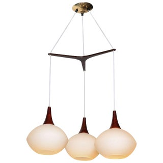 1960s Uno and Osten Kristiansson for Luxus Frosted Triple Globe Hanging Pendant For Sale