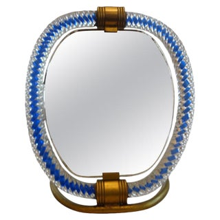 1940's Venini Style Murano Glass and Bronze Vanity Mirror For Sale