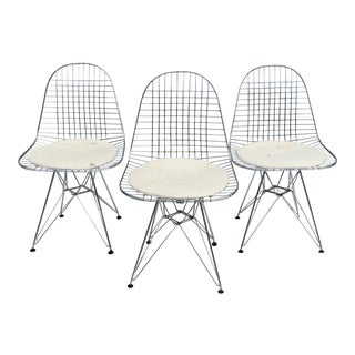 Vintage Eiffel Style Wire Chairs After Charles Eames - Set of 3 For Sale