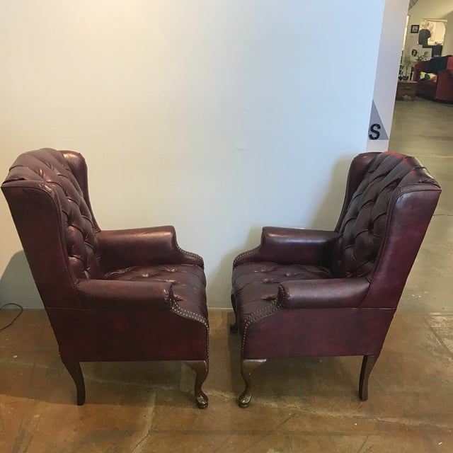 Chesterfield Oxblood Wingback Chairs - A Pair - Image 7 of 11