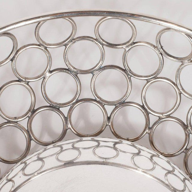 Mid-Century Modern Silver Plate Bowl/Basket with Repeating Circle Motif, Raimond For Sale In New York - Image 6 of 7