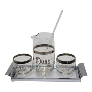 "Vintage ""Me Ours You"" Drink Mixer Set - 5 Pieces For Sale"