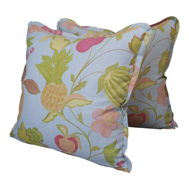Raoul Textiles Throw Pillows in Miranda Linen Print - a Pair For Sale