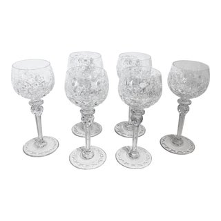 "Vintage Rogaska ""Gallia"" Hand Crafted Rare Cut Etched Lead Crystal Glasses - Set of 6 For Sale"