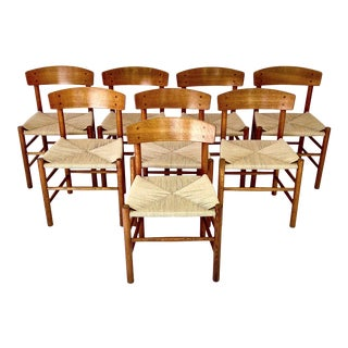 J-39 Børge Mogensen for Fdb Møbler Oak Dining Chairs - Set of 8 For Sale