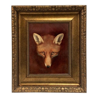 Renard the Fox Head by Reinagle Oil Painting Print Reproduction on Canvas in Antiqued Gold Frame For Sale