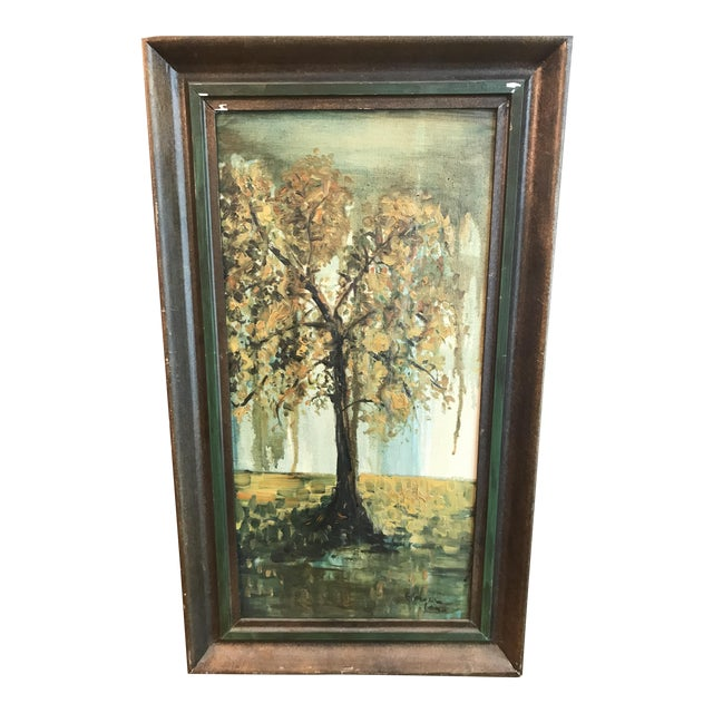 Vintage Framed Oil Painting of a Tree, Signed For Sale