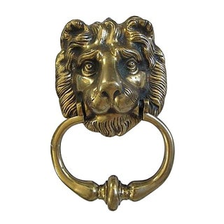 Antique Heavy English Brass Lion Head Door Knocker For Sale