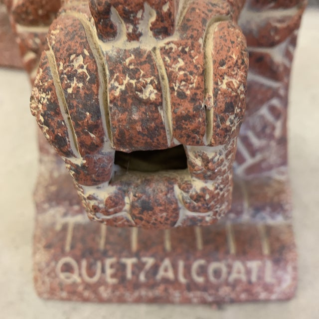 Feather Large Terra-Cotta Bookends Quetzalcoatl Pyramid For Sale - Image 7 of 12