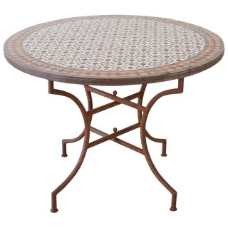 Spanish Dining Table With Moroccan Mosaic Tile Inlay For Sale