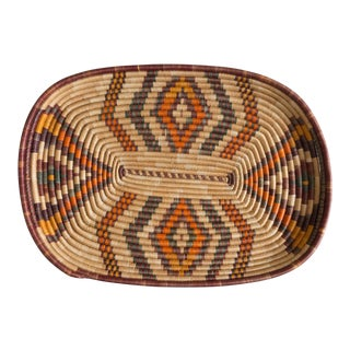 Vintage Native American Style Basket Tray For Sale