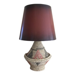 Vintage African Coil Basket Double Socket Table Lamp With Shade For Sale