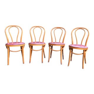 Vintage Mid Century Thonet Style Cafe Chairs- Set of 4 For Sale