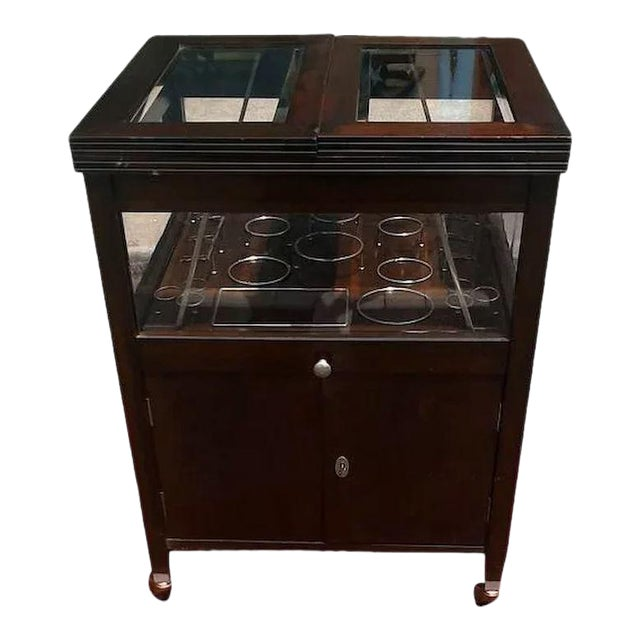 Vintage Bar Cart With Pop Up Center and Beveled Glass For Sale