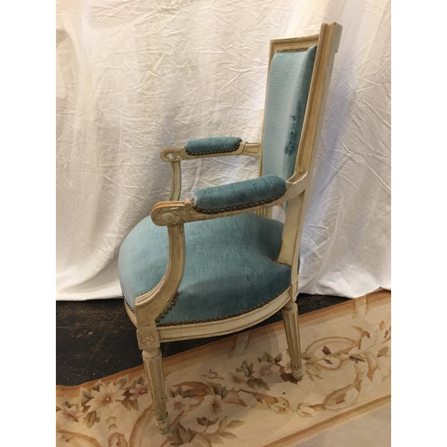 Louis XVI Styled Painted Armchairs in Blue Velvet - a Pair For Sale - Image 9 of 10