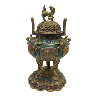 1980s Chinese Art Cloisonne and Bronze Incense Burner Vase For Sale
