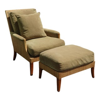 Vintage Mid Century Modern McGuire Sage Green Chair & Ottoman For Sale