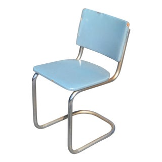 Vintage Retro Tubular Chrome Chair With Turquoise Blue Vinyl Upholstery For Sale