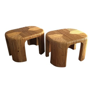 Split Bamboo Pencil Reed Waterfall Side Tables - a Pair For Sale