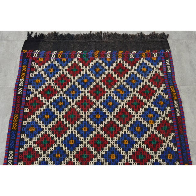 """Blue Hand-Woven Rug Kilim Braided Nomadic Rug - 5' X 8'4"""" For Sale - Image 8 of 12"""