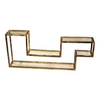 1960s Mid-Century Modern Display Shelf Glass Steel Case Tabletop Curio Gilt For Sale