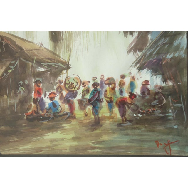 African Village Vintage Watercolor Painting For Sale - Image 4 of 4