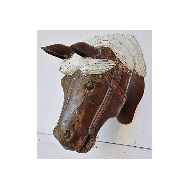1940s Hand-Carved Carousel Horse Head - Wall Mounted - Image 8 of 11