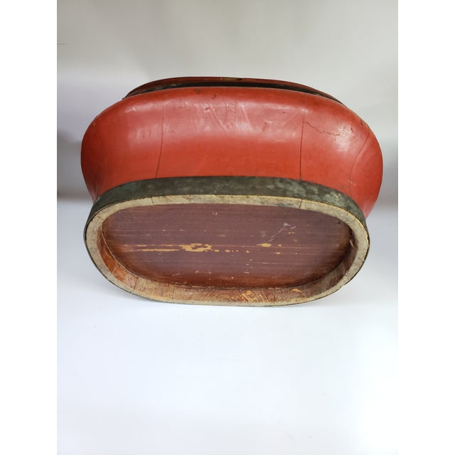 Asian 1960s Vintage Chinese Red Painted Wood Food Wedding Basket For Sale - Image 3 of 7